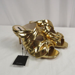 Zara Gold Metallic Strappy Bow Mules Heels NEW
